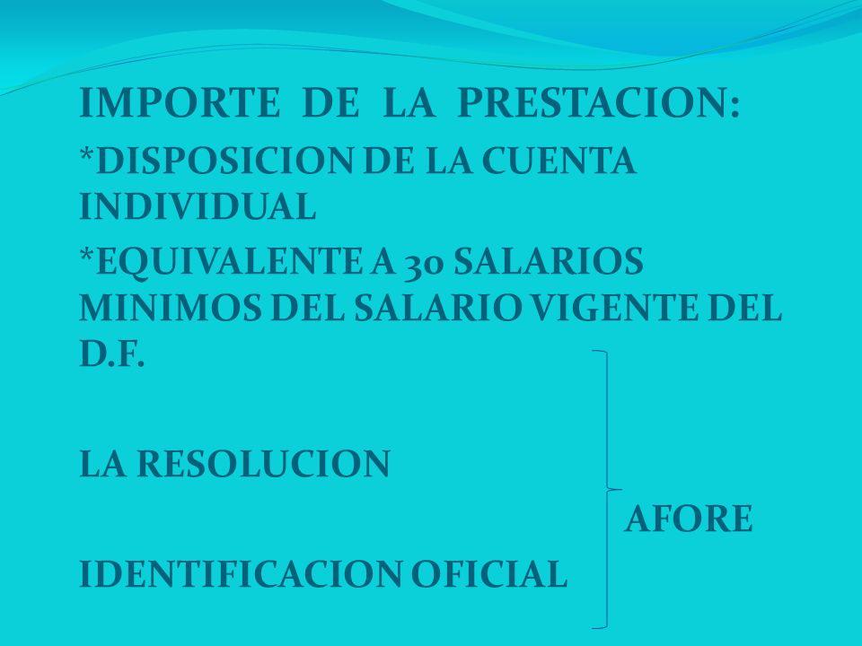 IMPORTE DE LA PRESTACION: