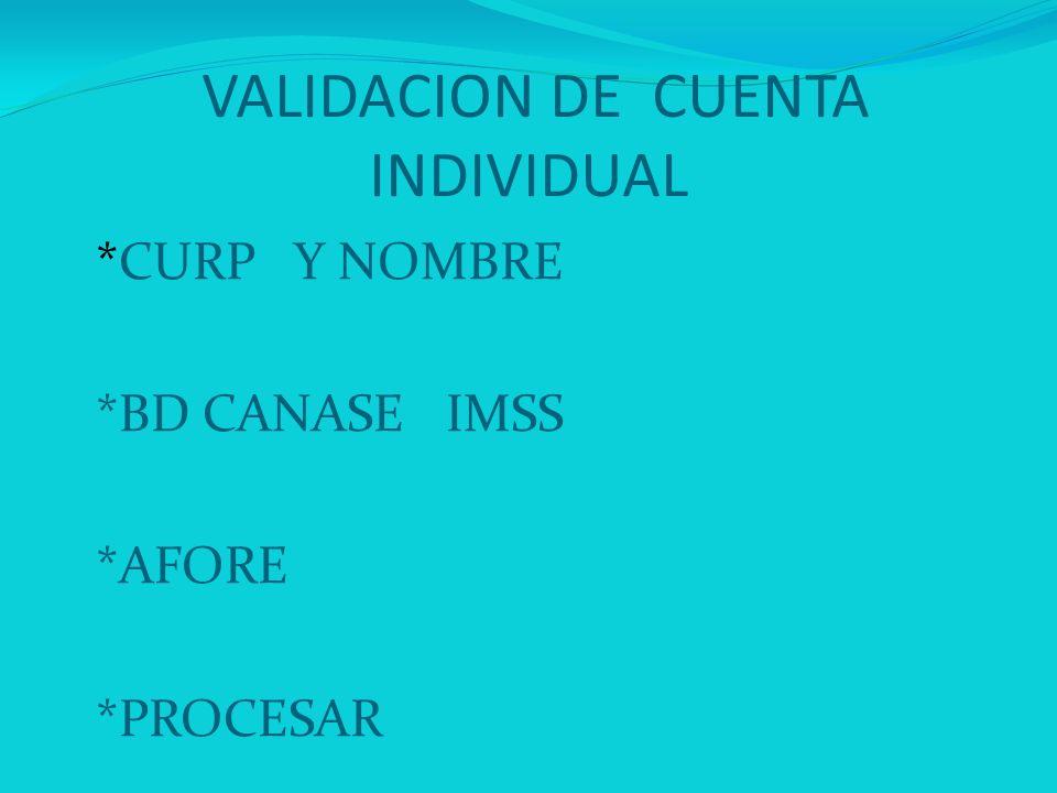 VALIDACION DE CUENTA INDIVIDUAL