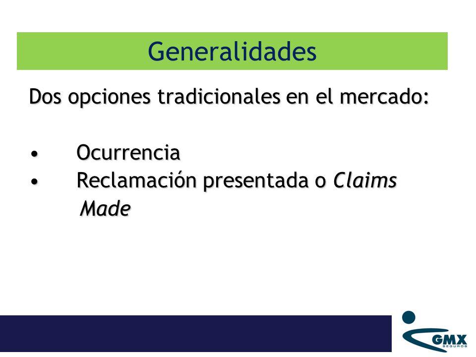 Generalidades Dos opciones tradicionales en el mercado: Ocurrencia
