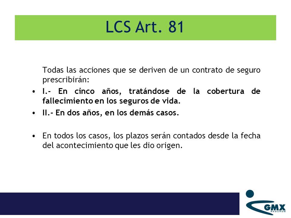 LCS Art. 81 Todas las acciones que se deriven de un contrato de seguro prescribirán: