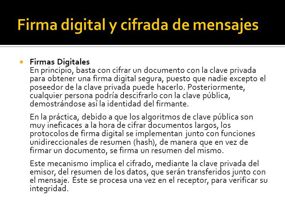 Firma digital y cifrada de mensajes