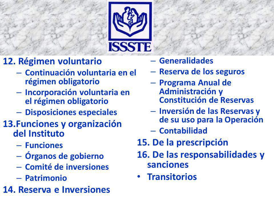 13.Funciones y organización del Instituto 15. De la prescripción