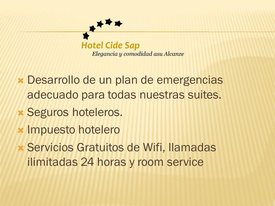 Desarrollo de un plan de emergencias adecuado para todas nuestras suites.