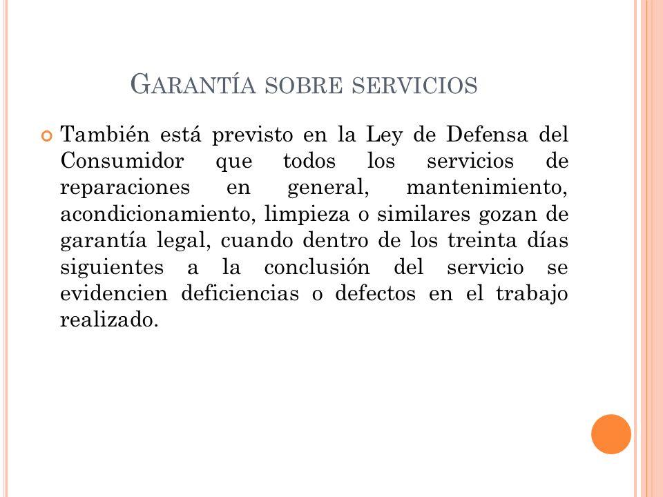 Garantía sobre servicios