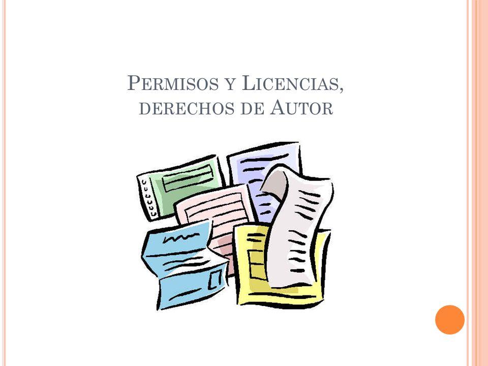 Permisos y Licencias, derechos de Autor