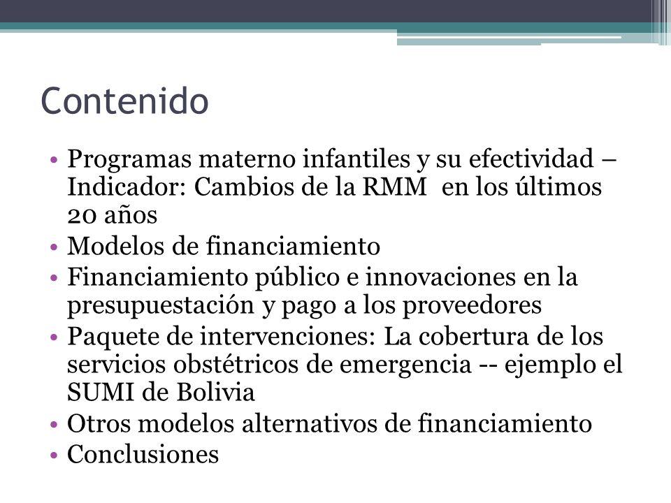 Contenido Programas materno infantiles y su efectividad – Indicador: Cambios de la RMM en los últimos 20 años.