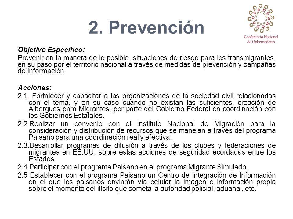 2. Prevención Objetivo Específico: