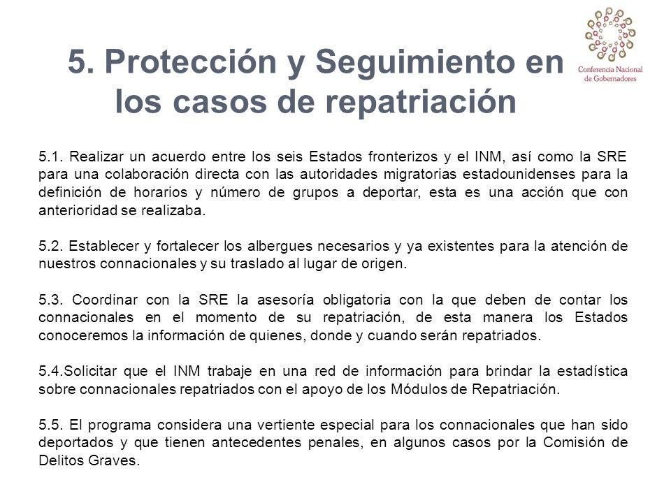 5. Protección y Seguimiento en los casos de repatriación