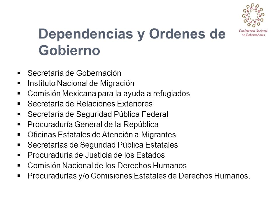 Dependencias y Ordenes de Gobierno