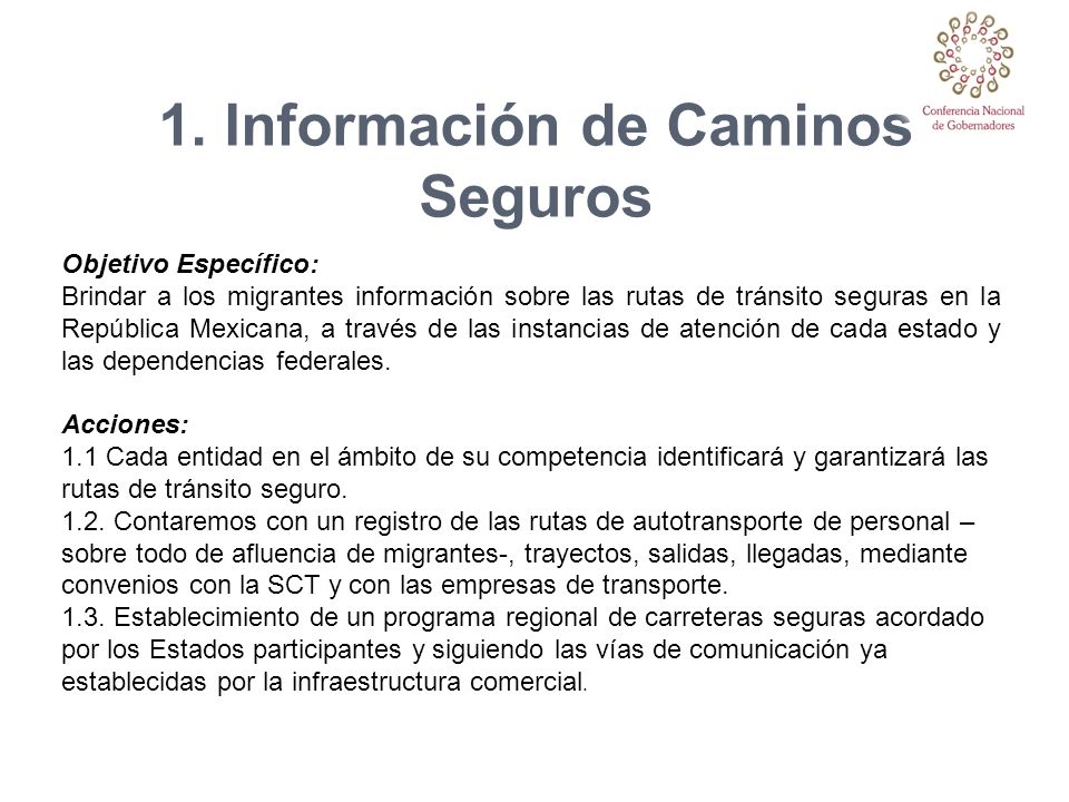 1. Información de Caminos Seguros
