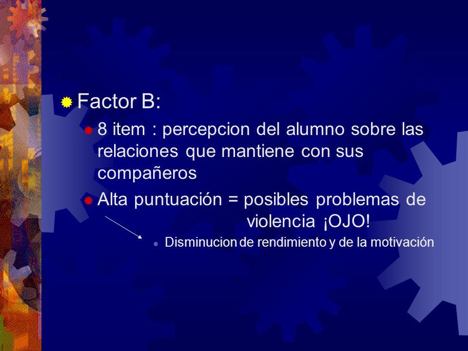 Factor B: 8 item : percepcion del alumno sobre las relaciones que mantiene con sus compañeros.