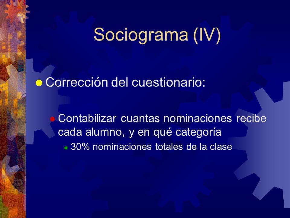 Sociograma (IV) Corrección del cuestionario: