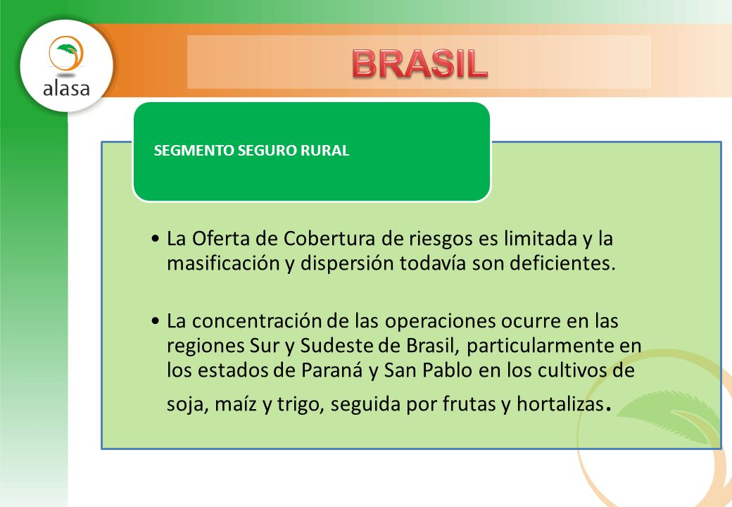 BRASIL La Oferta de Cobertura de riesgos es limitada y la masificación y dispersión todavía son deficientes.