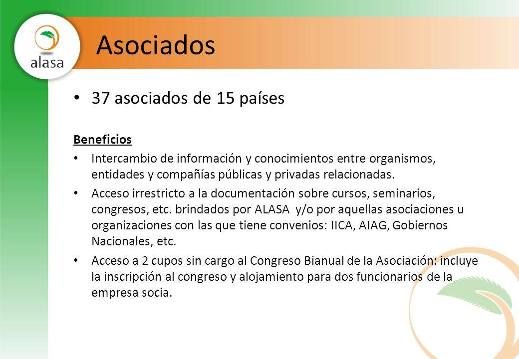 Asociados 37 asociados de 15 países Beneficios