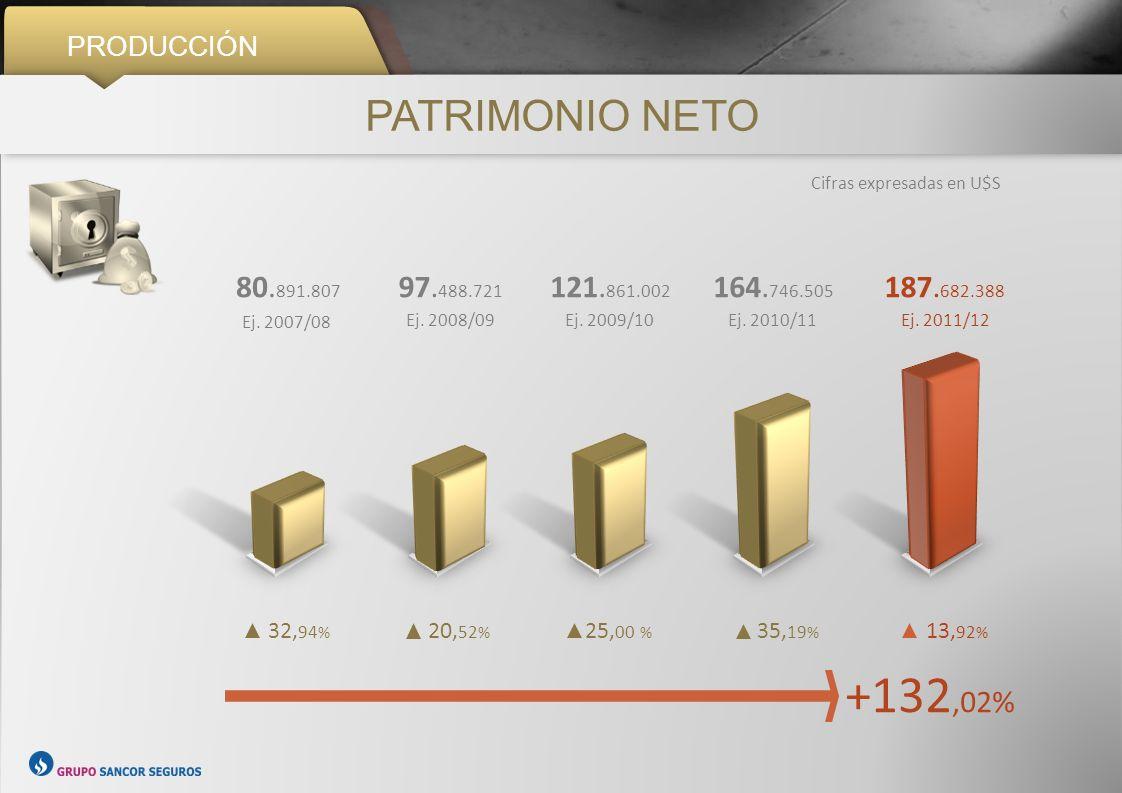 PRODUCCIÓN PATRIMONIO NETO. Cifras expresadas en U$S. 80.891.807. Ej. 2007/08. 97.488.721. Ej. 2008/09.