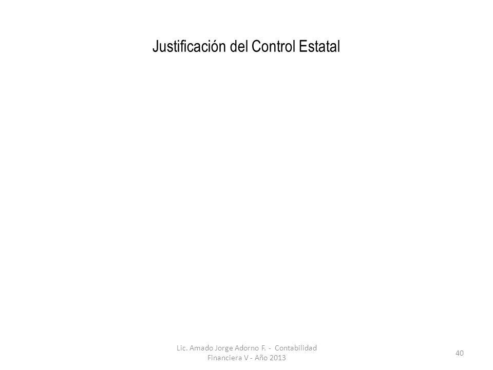 Justificación del Control Estatal