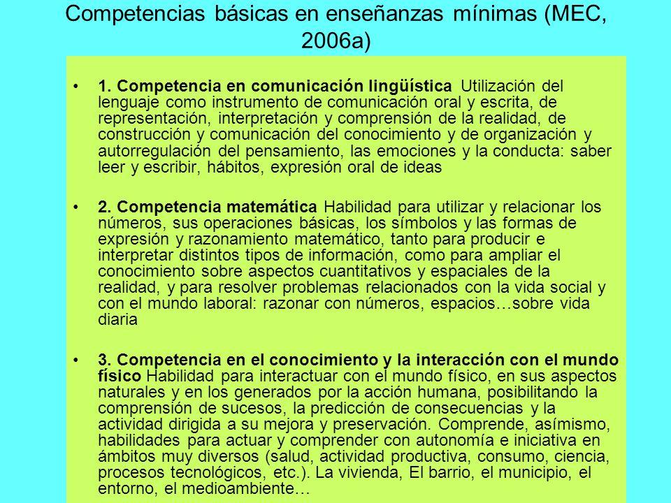 Competencias básicas en enseñanzas mínimas (MEC, 2006a)