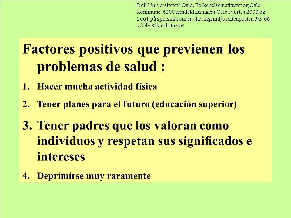 Factores positivos que previenen los problemas de salud :