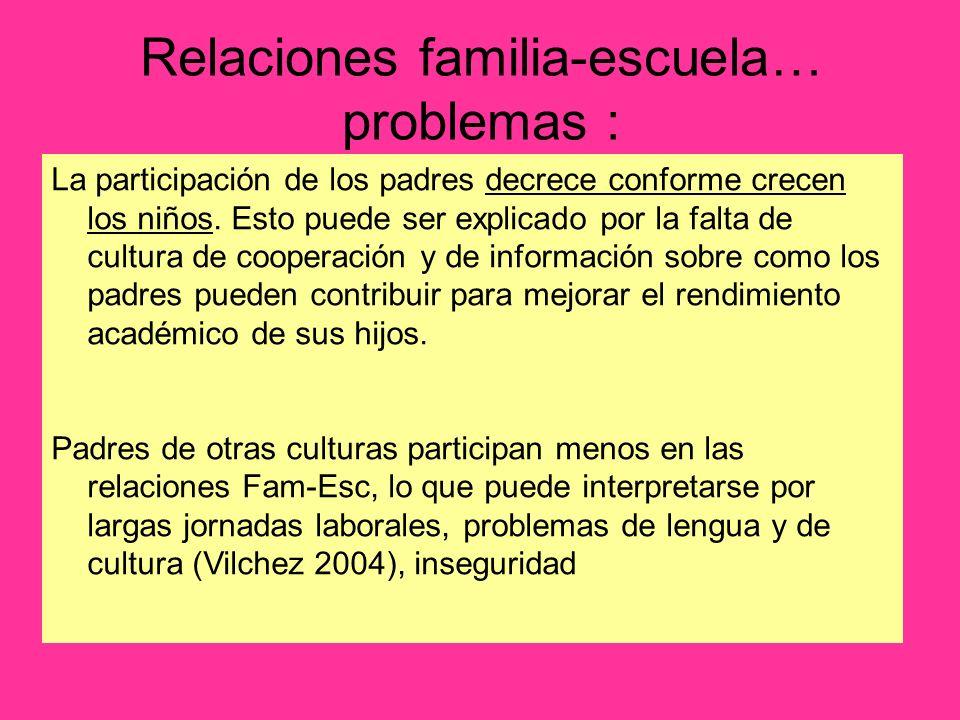 Relaciones familia-escuela… problemas :