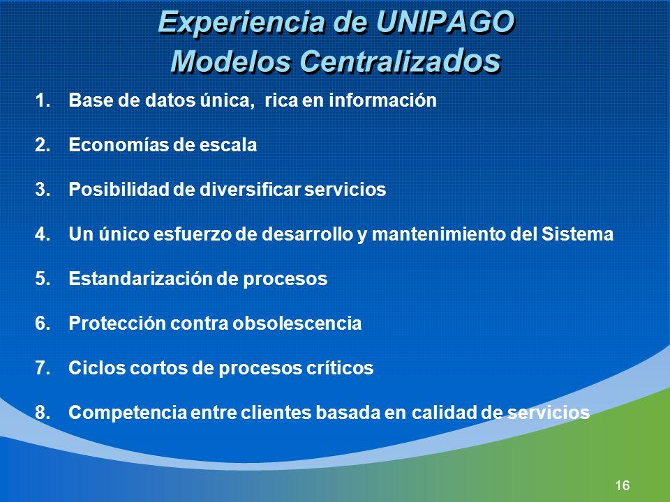 Experiencia de UNIPAGO Modelos Centralizados