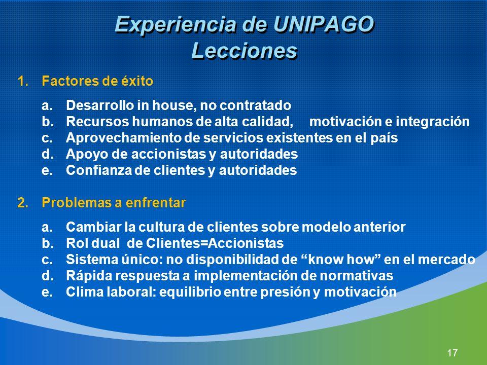 Experiencia de UNIPAGO Lecciones