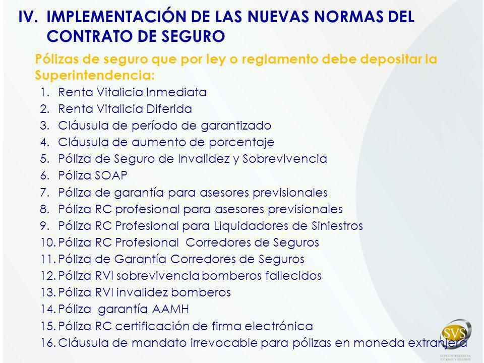 IMPLEMENTACIÓN DE LAS NUEVAS NORMAS DEL CONTRATO DE SEGURO