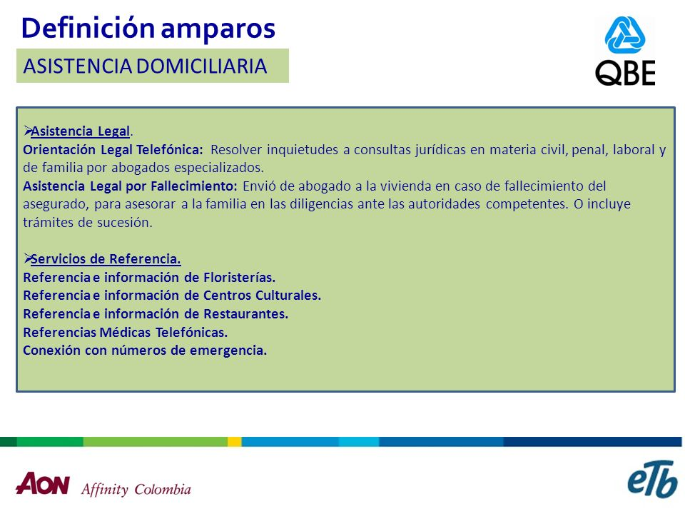 Definición amparos ASISTENCIA DOMICILIARIA Asistencia Legal.