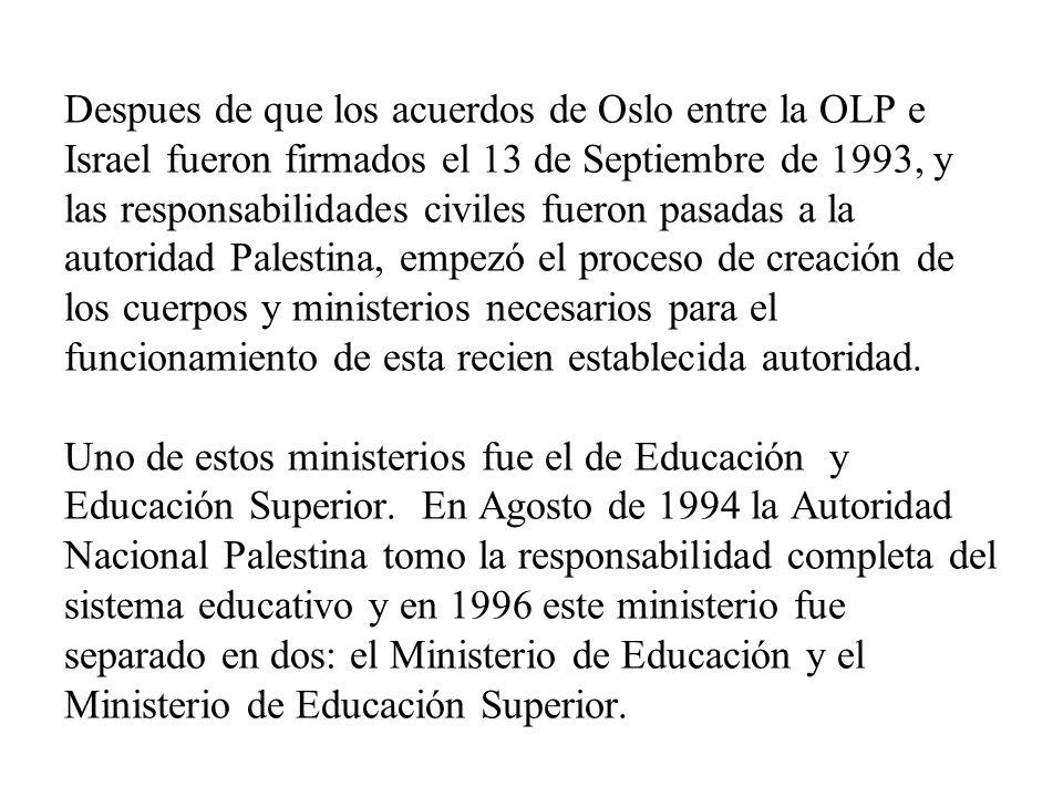 Despues de que los acuerdos de Oslo entre la OLP e Israel fueron firmados el 13 de Septiembre de 1993, y las responsabilidades civiles fueron pasadas a la autoridad Palestina, empezó el proceso de creación de los cuerpos y ministerios necesarios para el funcionamiento de esta recien establecida autoridad.