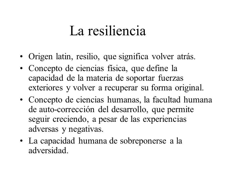 La resiliencia Origen latin, resilio, que significa volver atrás.