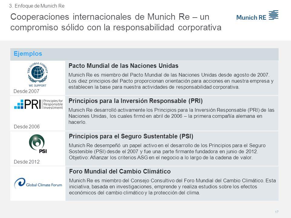 3. Enfoque de Munich Re Cooperaciones internacionales de Munich Re – un compromiso sólido con la responsabilidad corporativa.