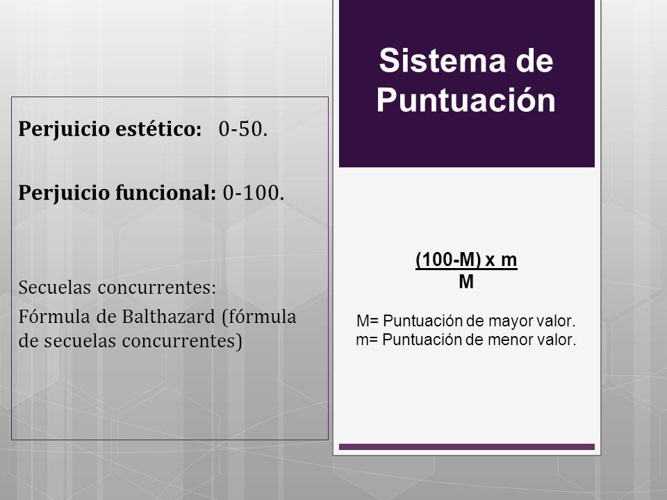 Sistema de Puntuación (100-M) x m M M= Puntuación de mayor valor