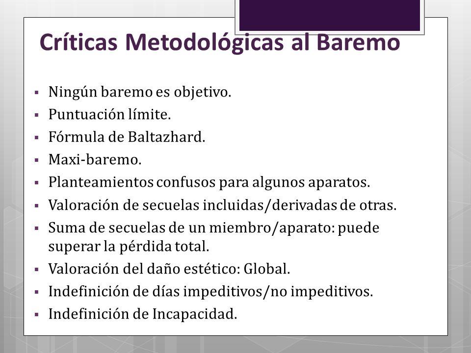 Críticas Metodológicas al Baremo