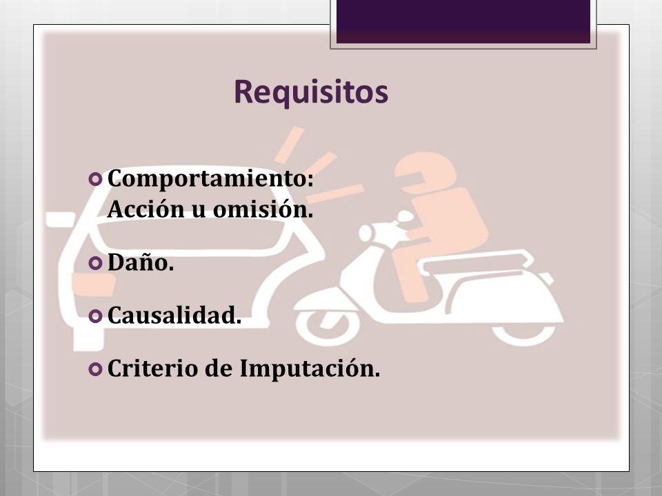 Requisitos Comportamiento: Acción u omisión. Daño. Causalidad.