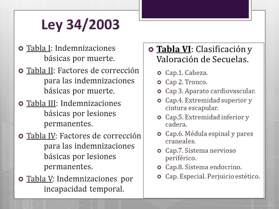 Ley 34/2003 Tabla VI: Clasificación y Valoración de Secuelas.