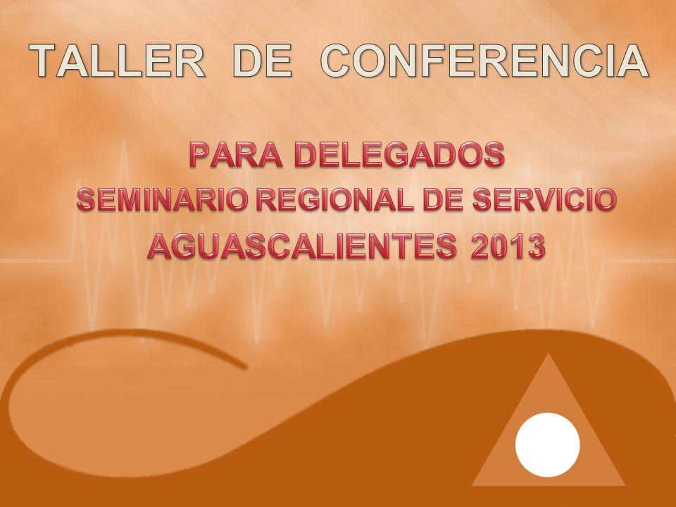 PARA DELEGADOS SEMINARIO REGIONAL DE SERVICIO AGUASCALIENTES 2013