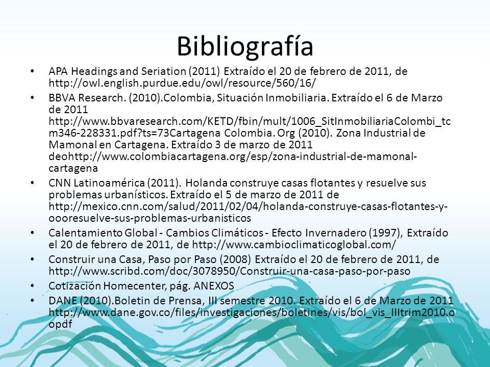 Bibliografía APA Headings and Seriation (2011) Extraído el 20 de febrero de 2011, de http://owl.english.purdue.edu/owl/resource/560/16/