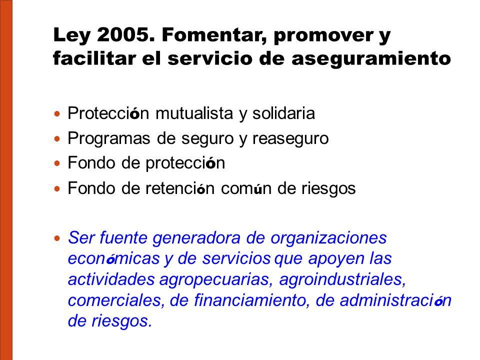 Ley 2005. Fomentar, promover y facilitar el servicio de aseguramiento