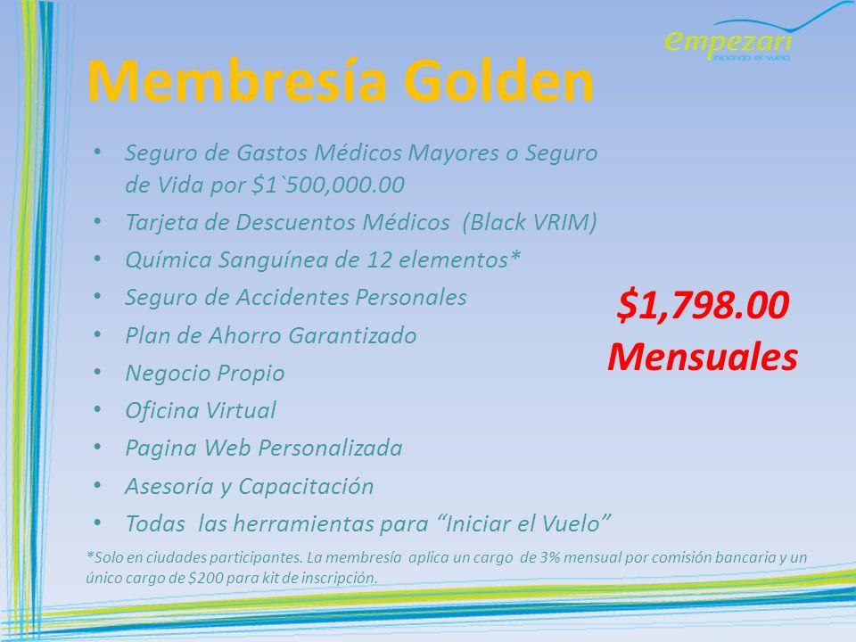 Membresía Golden $1,798.00 Mensuales