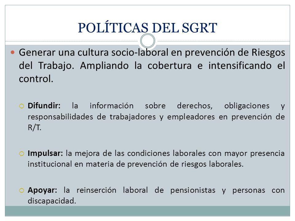POLÍTICAS DEL SGRT Generar una cultura socio-laboral en prevención de Riesgos del Trabajo. Ampliando la cobertura e intensificando el control.