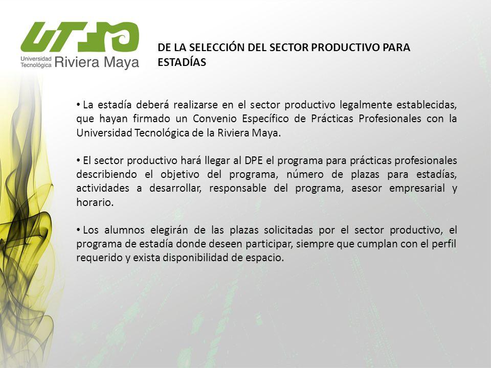 DE LA SELECCIÓN DEL SECTOR PRODUCTIVO PARA ESTADÍAS