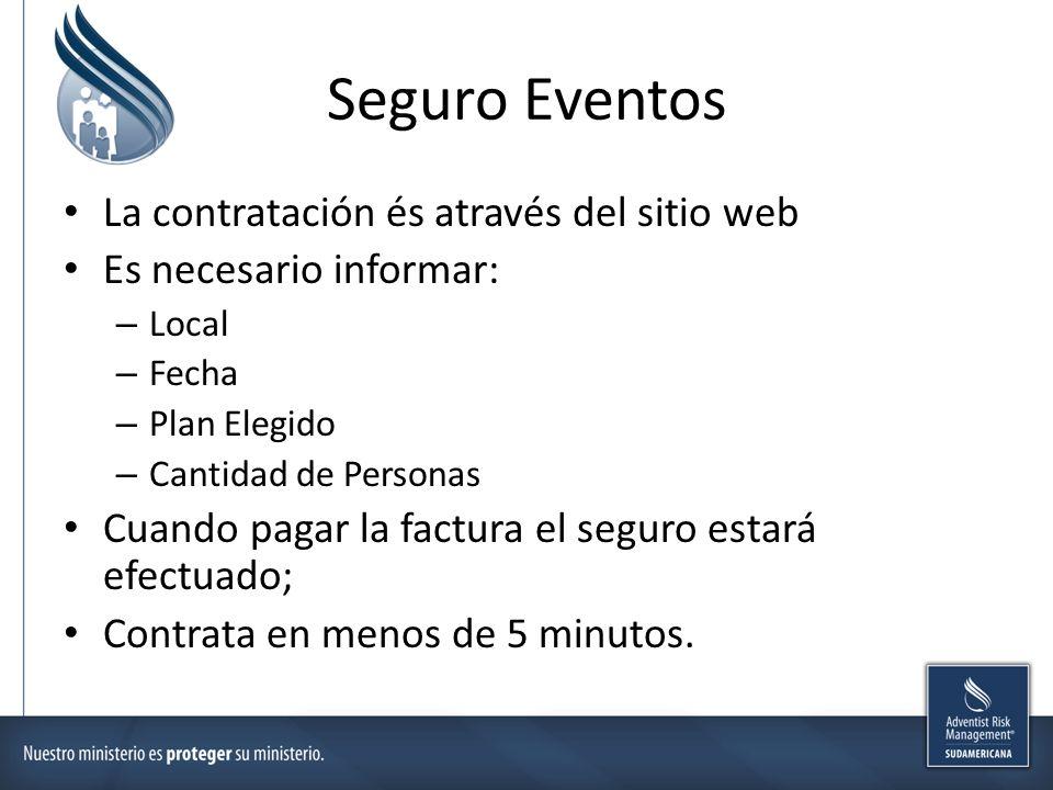 Seguro Eventos La contratación és através del sitio web