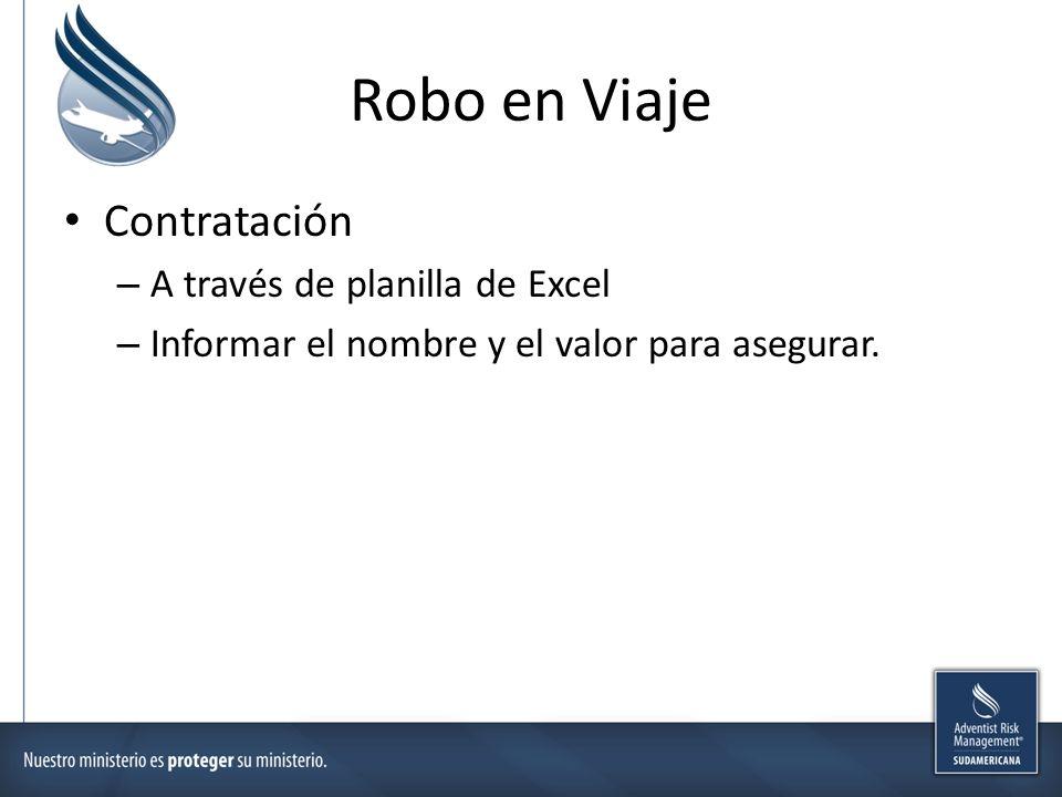 Robo en Viaje Contratación A través de planilla de Excel