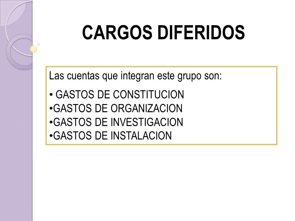 CARGOS DIFERIDOS Las cuentas que integran este grupo son: