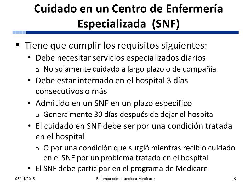 Cuidado en un Centro de Enfermería Especializada (SNF)
