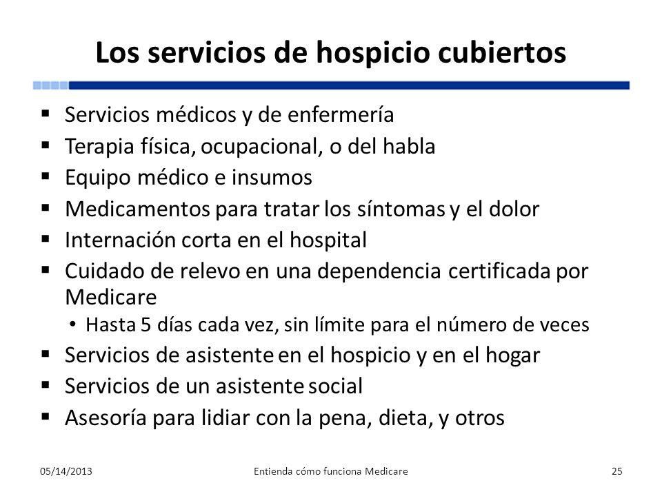Los servicios de hospicio cubiertos