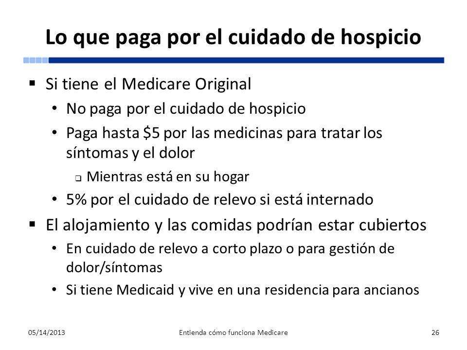 Lo que paga por el cuidado de hospicio