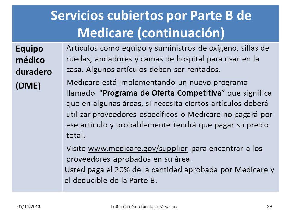 Servicios cubiertos por Parte B de Medicare (continuación)