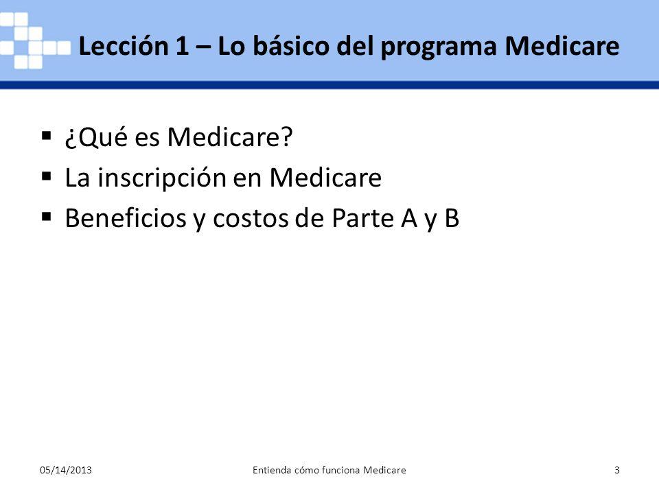 Lección 1 – Lo básico del programa Medicare