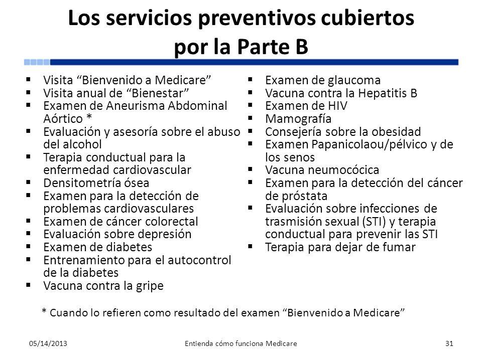 Los servicios preventivos cubiertos por la Parte B