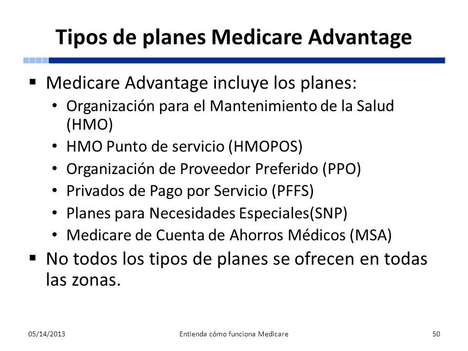 Tipos de planes Medicare Advantage